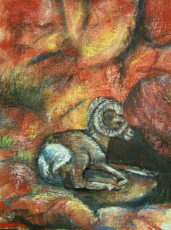 Wildlife Art Print featuring the painting Bighorn by Darla Joy Johnson