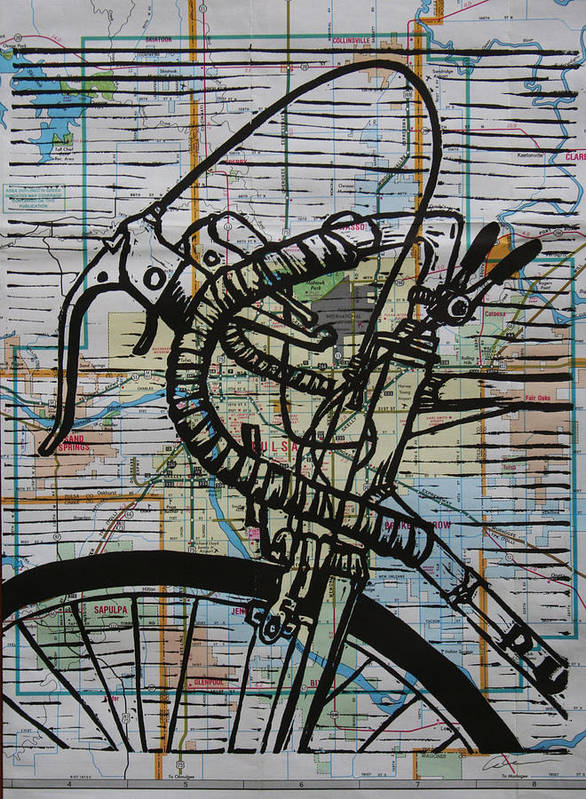 Print Print featuring the drawing Bike 2 On Map by William Cauthern
