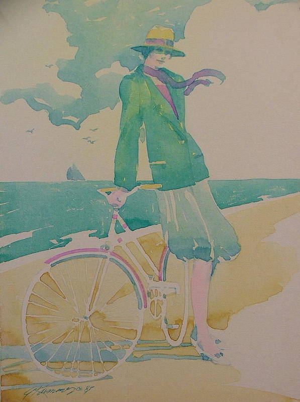 Art Deco Art Print featuring the painting Biking By The Sea by Gary Kaemmer