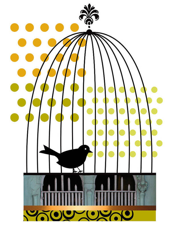 Bird Art Print featuring the digital art Birdcage Solo by Studio Best