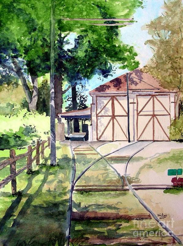 Trolley Art Print featuring the painting Birney Trolley Barn by Tom Riggs