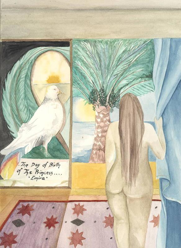Bird Art Print featuring the painting Birth Of Princess Emira by Amrei Al-Tobaishi-Jarosch