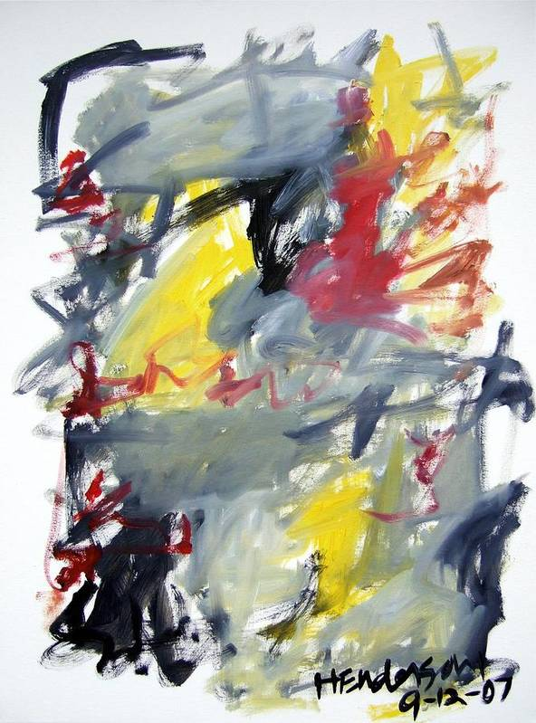 Abstract Art Print featuring the painting Black And Yellow Abstract by Michael Henderson