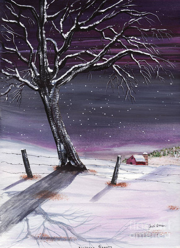 Winter Landscape Jack Brauer Snow Tree Blizzard Barn Farm Fenceline Winter Storm Art Print featuring the painting Blizzard Beauty by Jack G Brauer