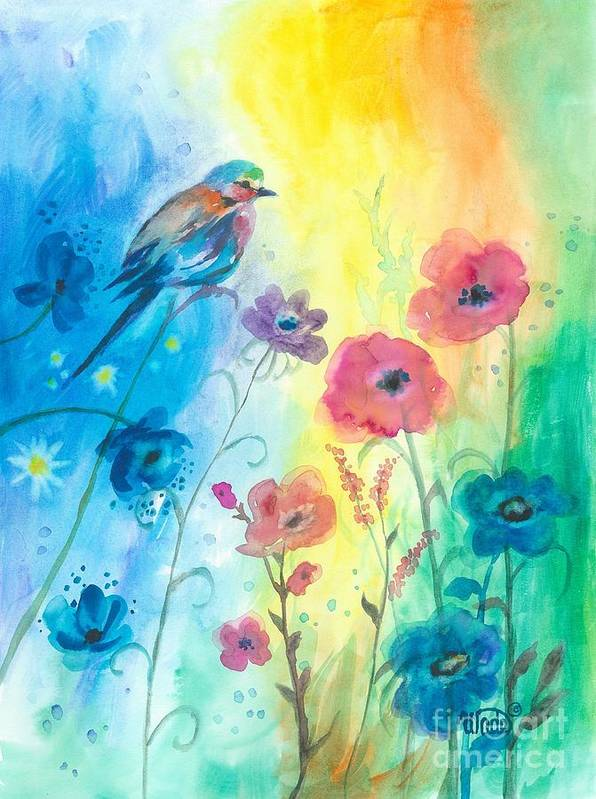 Floral Art Print featuring the painting Blue Bird And Flowers by Vickie Wade