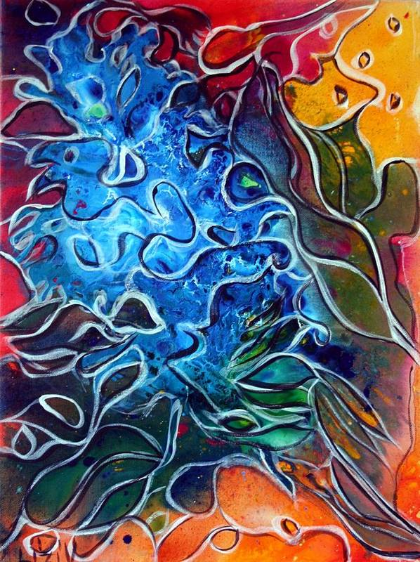 Abstract Art Print featuring the painting Blue Blossom by Luiza Vizoli