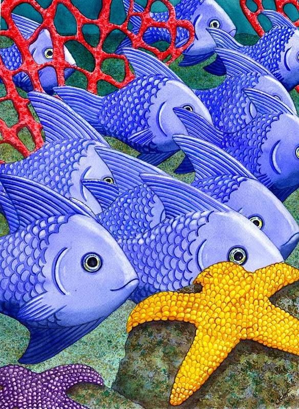 Fish Art Print featuring the painting Blue Fish by Catherine G McElroy