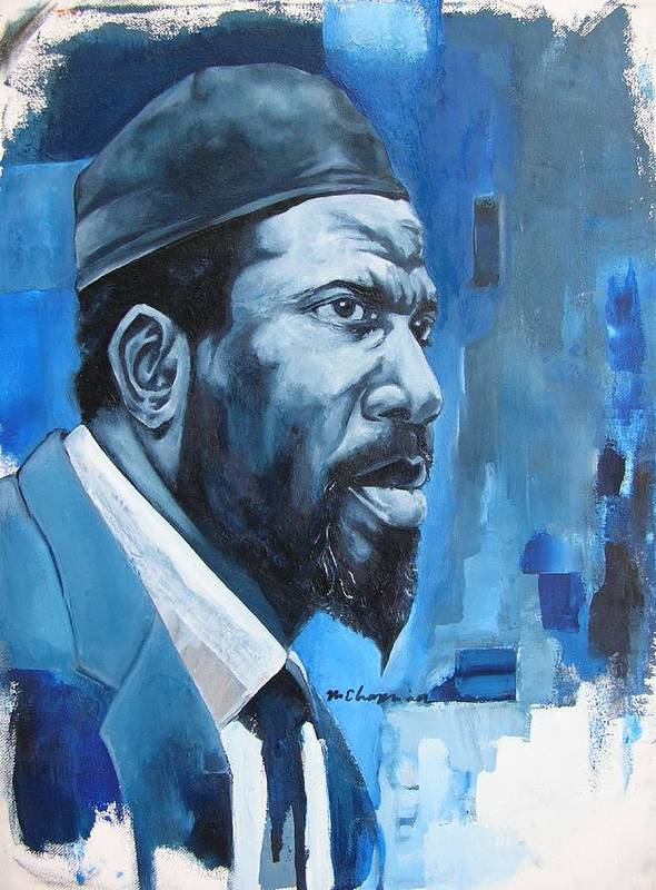 Thelonious Monk Blue Piano Jazz Art Print featuring the painting Blue Monk by Martel Chapman