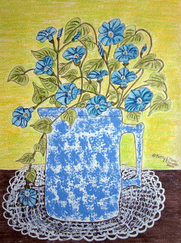 Blue Art Print featuring the painting Blue Spongeware Pitcher Morning Glories by Kathy Marrs Chandler
