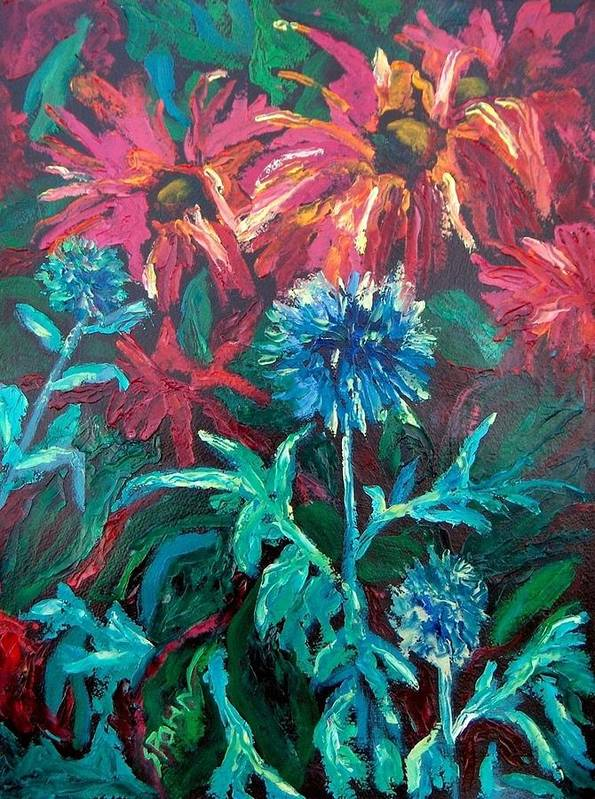 Red Art Print featuring the painting Blue Thistle And Bee Balm by Susan Spohn