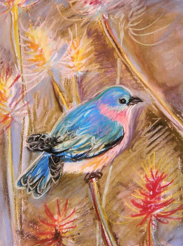 Blue Bird Art Print featuring the pastel Bluebird by Emily Michaud