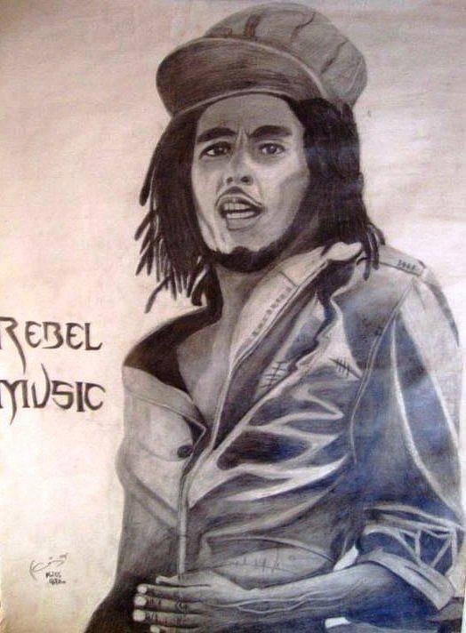 Art Print featuring the drawing Bob Marley by Chris Gitau