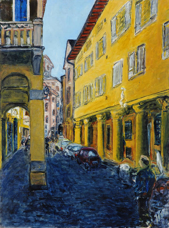 Cityscape Italy Bologna Cars Yellow Houses Man Columns Art Print featuring the painting Bologna Galeria by Joan De Bot