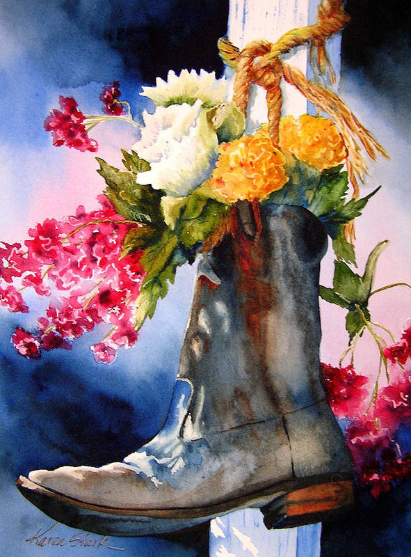 Cowboy Art Print featuring the painting Boot Bouquet by Karen Stark