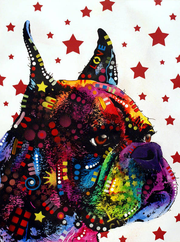 Boxer Art Print featuring the painting Boxer Love by Dean Russo