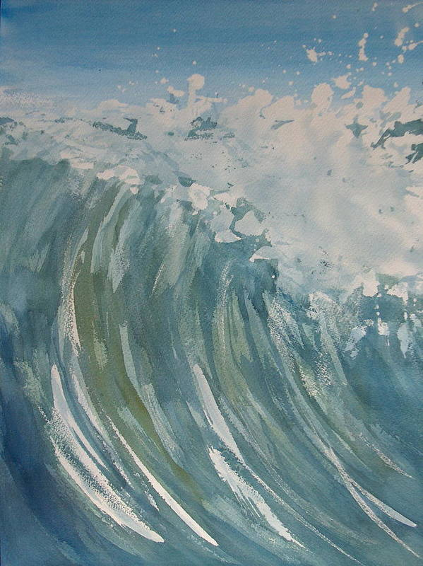 Ocean Art Print featuring the painting Breaker by Pete Maier