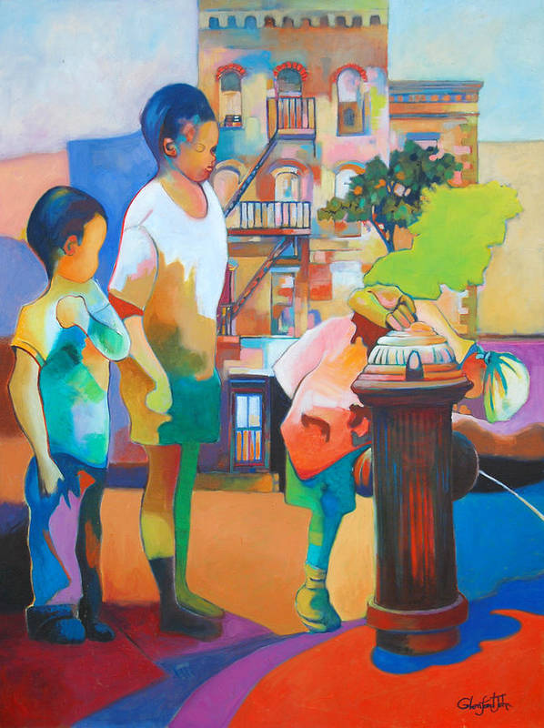 Urban Art Print featuring the painting Brooklyn Life by Glenford John