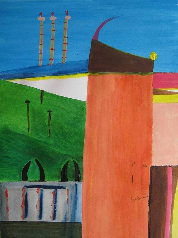 Abstract Art Print featuring the painting Bullring - Plaza De Toro. by Roger Cummiskey