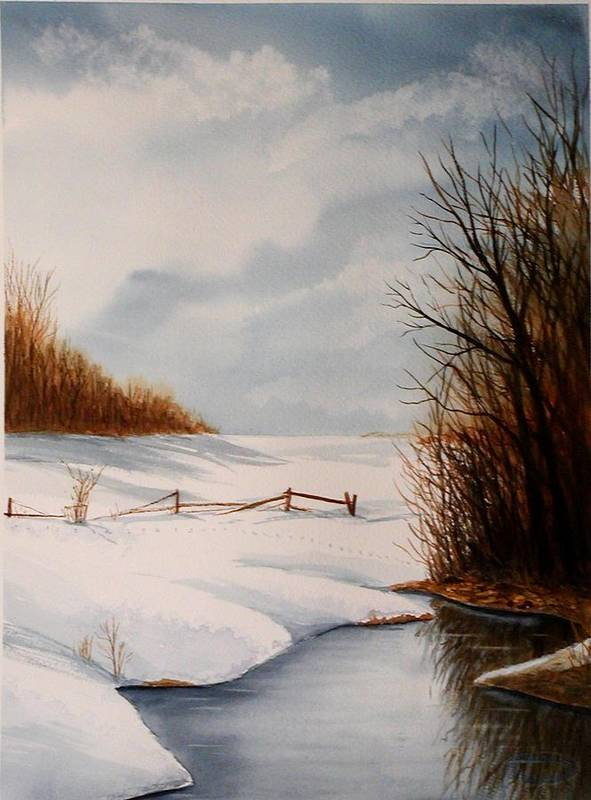 Winter Art Print featuring the painting Bunny Trail by Sharon Steinhaus