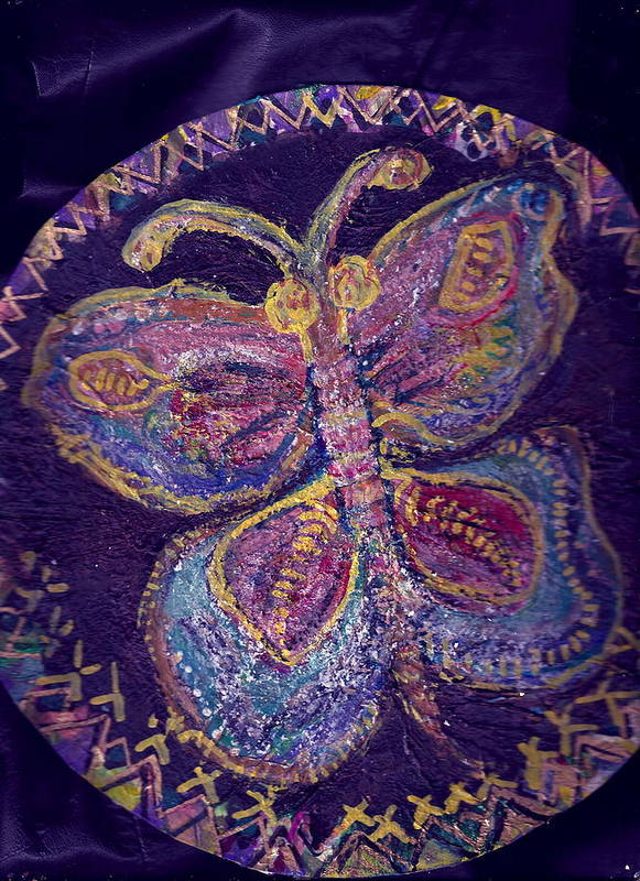 Butterfly Art Print featuring the painting Butterfly With Stitches On Wings by Anne-Elizabeth Whiteway