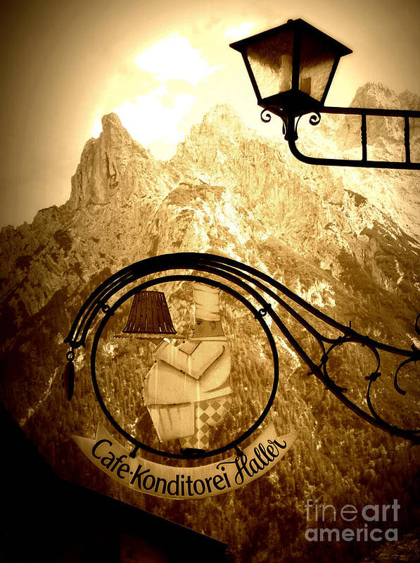 Cafe Sign Art Print featuring the photograph Cafe Sign In Bavarian Alps by Carol Groenen