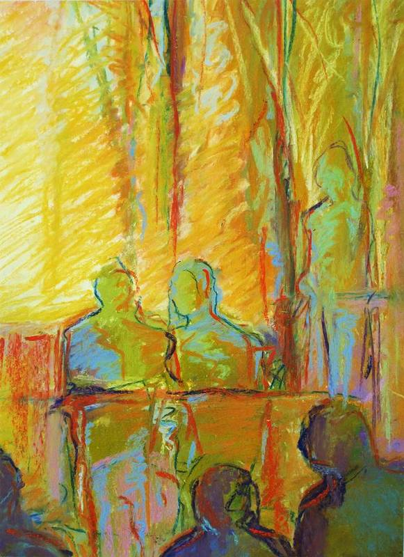 Cafe Art Print featuring the painting Cafe Two by LaDonna Kruger