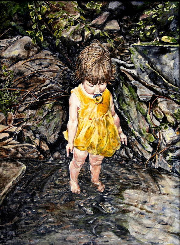 Children Art Print featuring the painting Caice At Otter Creek by Thomas Akers