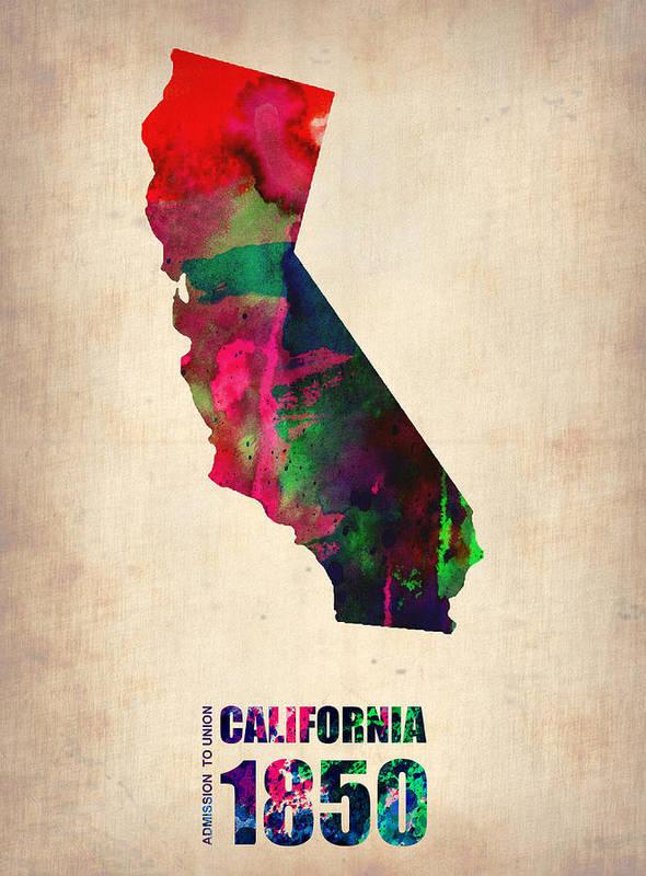 California Art Print featuring the digital art California Watercolor Map by Naxart Studio