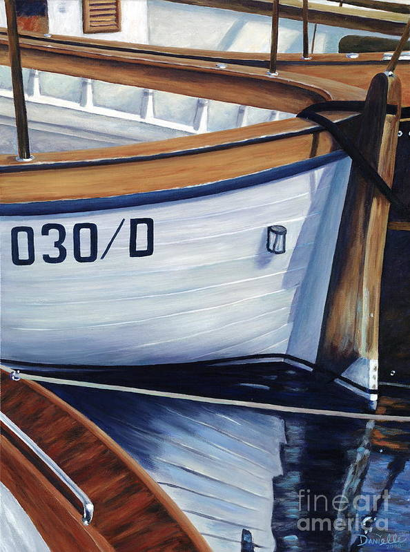 Nautical Art Print featuring the painting Capri Boats by Danielle Perry