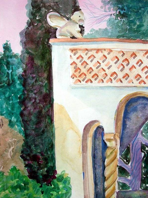 Capri Art Print featuring the painting Capri Sphinx by Mindy Newman