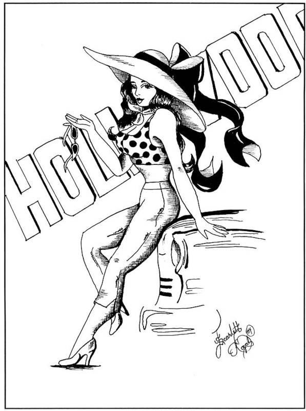 Cartoon Art Print featuring the drawing Cartoon Actress by Scarlett Royal