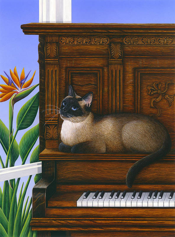 Siamese Cat Art Print featuring the painting Cat Missy On Piano by Carol Wilson