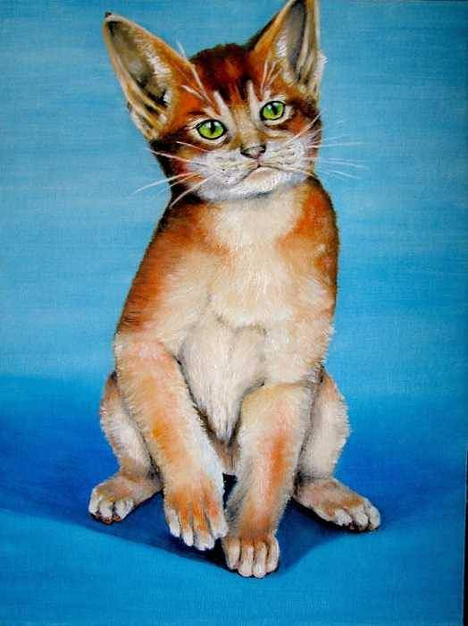 Cat Art Print featuring the painting Cat Original Oil Painting by Natalja Picugina