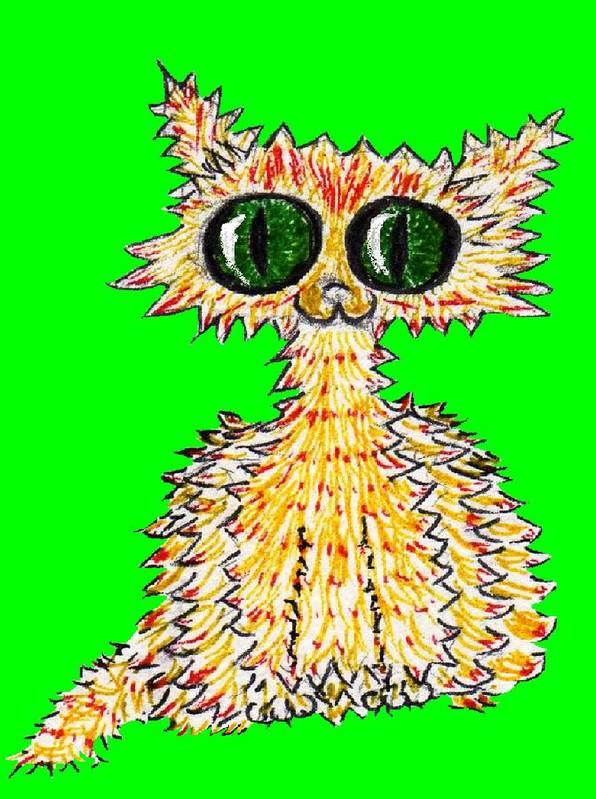 Cat Crazy Yellow Green Eyes Art Print featuring the digital art Catagog by Bethwyn Mills