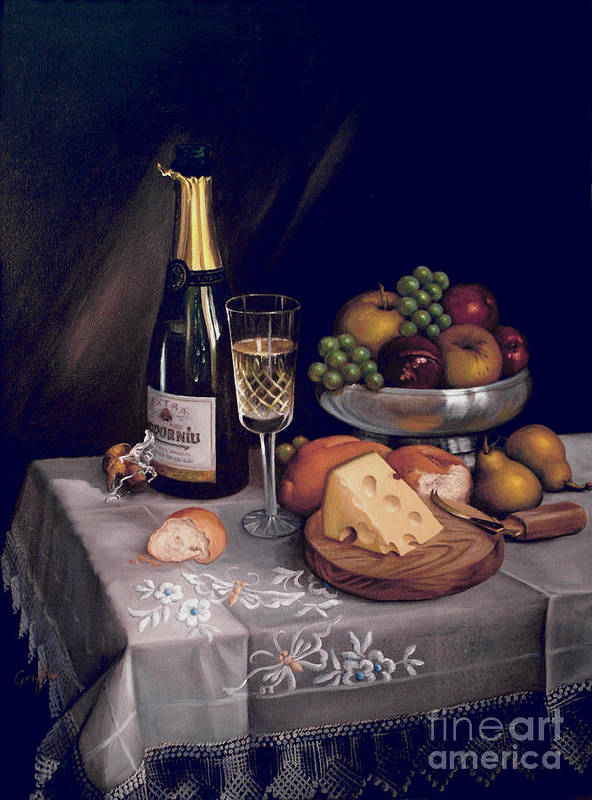 Codorniu Art Print featuring the painting Cava Y Queso by Mai Griffin