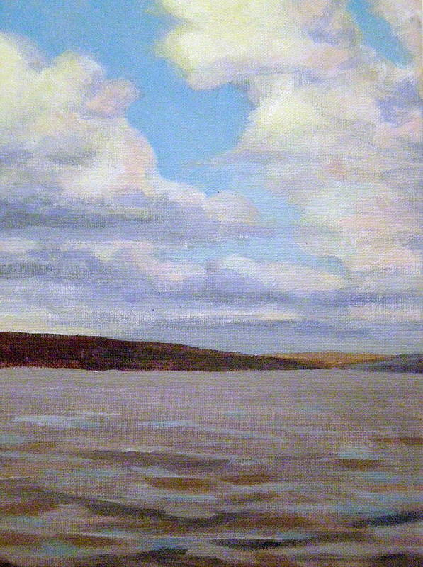 Landscape Art Print featuring the painting Cayuga Lake by Evelynn Eighmey