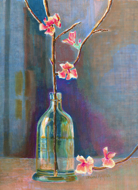 Flower Art Print featuring the painting Cherry Blossoms In A Bottle by Arline Wagner
