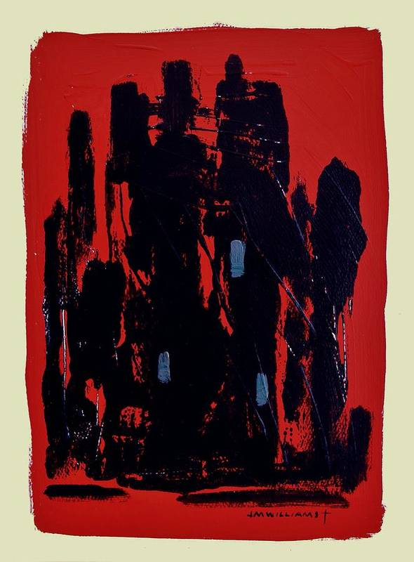 Abstract Art Print featuring the painting Chicago On Red by John Williams