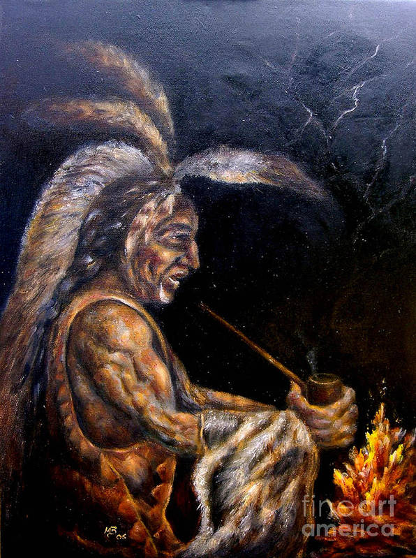 Figurative Art Print featuring the painting Chief At The Campfire by MM Zurahov