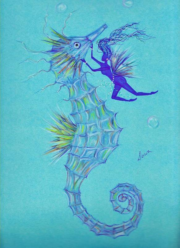 Seahorse Art Print featuring the drawing Chin Scratching by Dawn Fairies