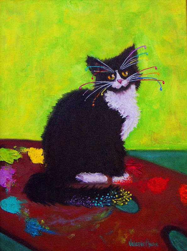 Cat Art Print featuring the painting Ching - The Studio Cat by Valerie Aune