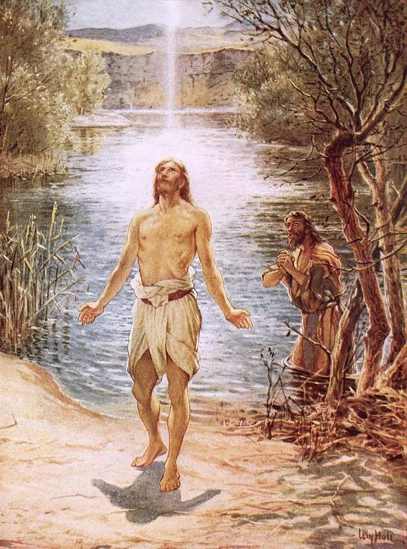 Christ Baptised By John The Baptist By William Brassey Hole (1846-1917)lake Print featuring the painting Christ Baptised By John The Baptist by William Brassey Hole