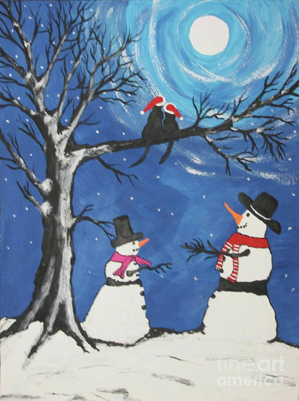 Greeting Cards Art Print featuring the painting Christmas Cats In Love by Jeffrey Koss