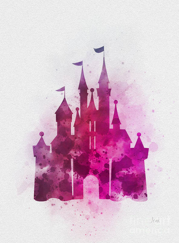 Cinderella Castle Pink Art Print By Rebecca Jenkins