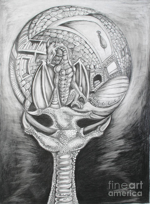 Dragon M.c. Escher Art Print featuring the drawing Claw With Reflecting Sphere by Michael Cook
