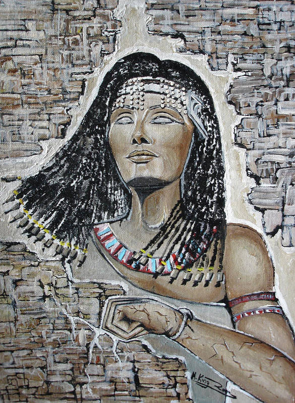 Cleopatra Art Print featuring the mixed media Cleopatra 's Anger by Rana King