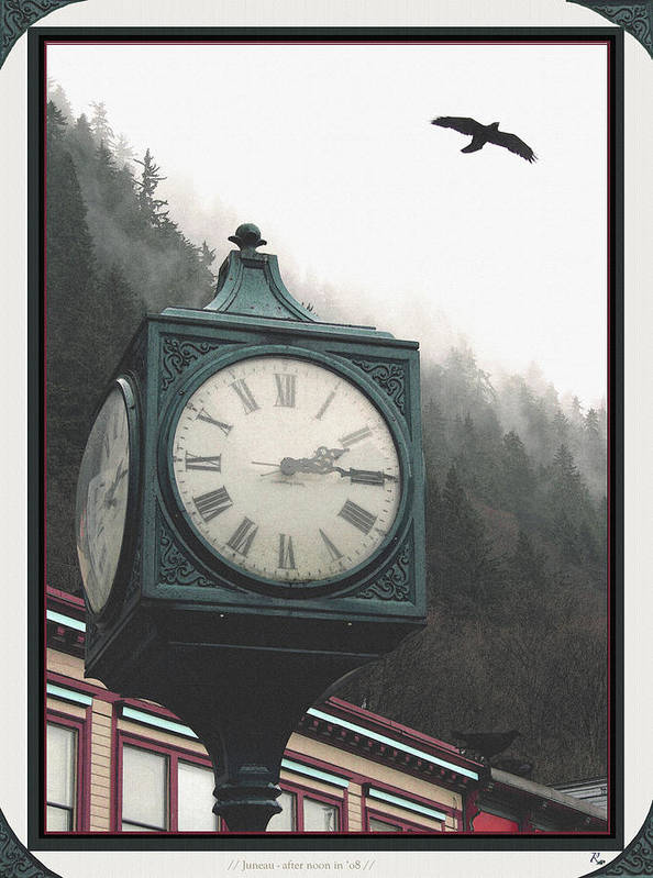 Clock Art Print featuring the photograph Clock Raven by Perri Kelly