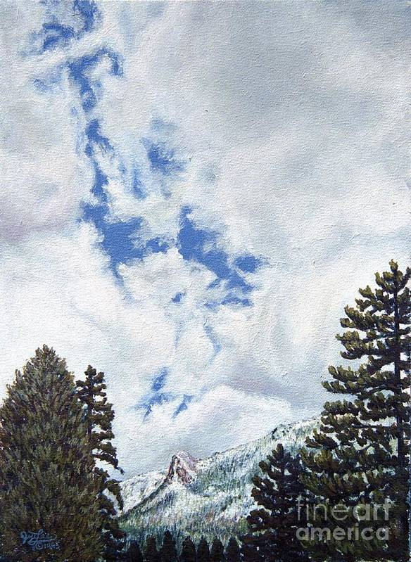 Landscape Painting Art Print featuring the painting Clouds Over Tahquitz by Jiji Lee