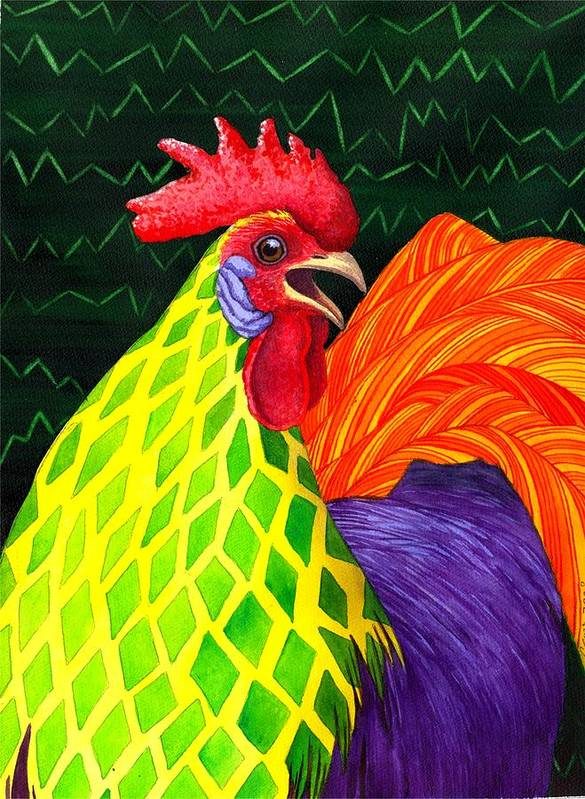 Rooster Art Print featuring the painting Cock A Doodle Dude II by Catherine G McElroy