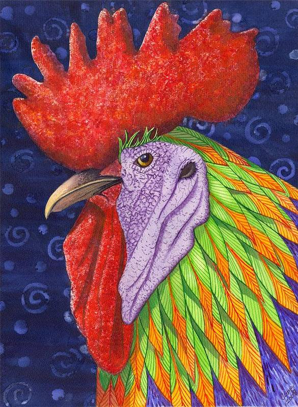 Rooster Art Print featuring the painting Cock A Doodle Dude IIi by Catherine G McElroy